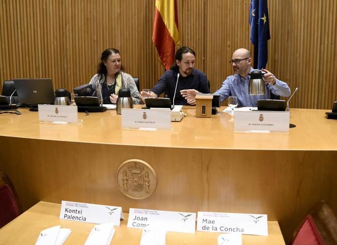 Pablo Iglesias participa en la jornada 'Hacia la regulación integral del cannabis', en el Congreso.