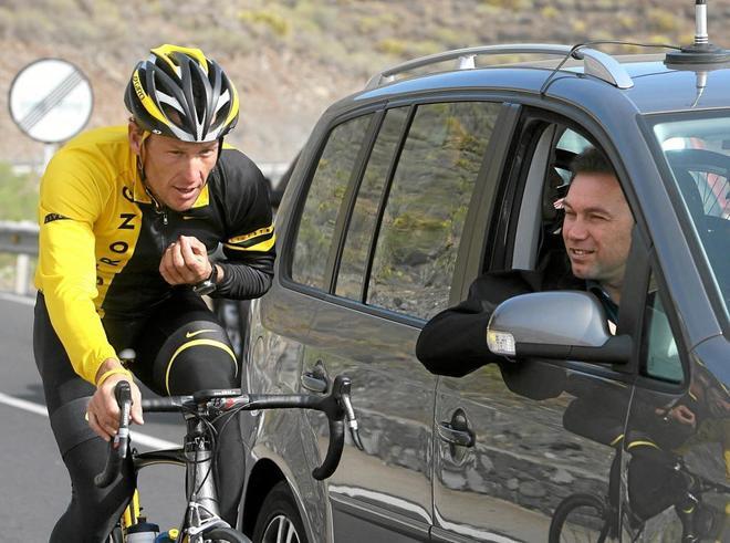Johan Bruyneel, con Lance Armstrong en un entrenamiento.