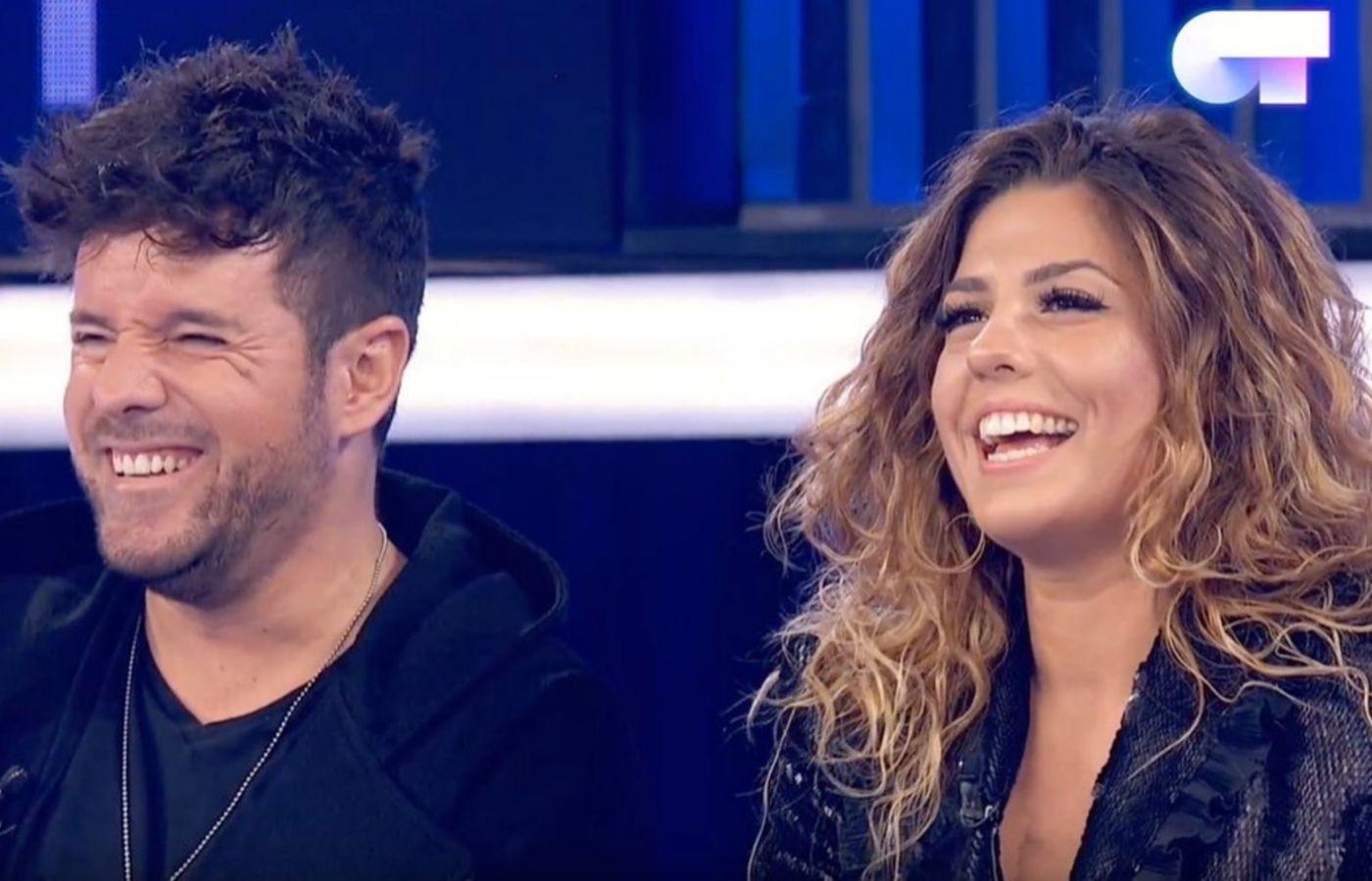 Los cantantes Pablo López y Miriam Rodríguez durante la entrevista...