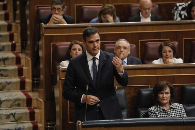 Pedro Sánchez, el miércoles durante la sesión de control al Gobierno en el Congreso.