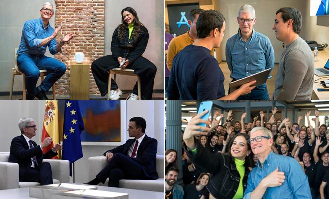 De Rosalía a Pedro Sánchez: acompañamos a Tim Cook en su visita exprés a Madrid