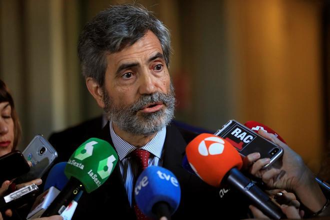 El presidente del Tribunal Supremo, Carlos Lesmes, ayer, en la jornada...