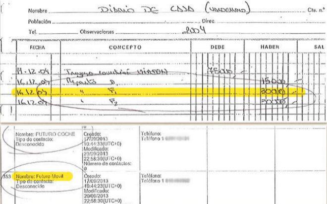"""Arriba, la contabilidad secreta de Marjaliza, con 30.000 euros de """"comisión Virton"""" a 'F1'. Abajo, la agenda telefónica del empresario, con el teléfono de Granados etiquetado como 'Futuro Móvil'."""