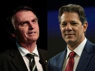 Los candidatos brasileños Jair Bolsonaro y Fernando Haddad.