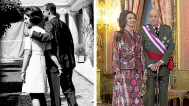 En 1970, había miradas y abrazos cómplices entre los futuros reyes, Doña Sofía y Don Juan Carlos. En 2018, la misma pareja se fotografiaba dejando entrever una actitud fría y distante.