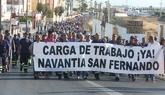 Manifestación de trabajadores de la empresa Navantia, en San Fernando...