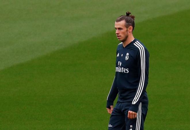 Bale, durante el último entrenamiento del Real Madrid.