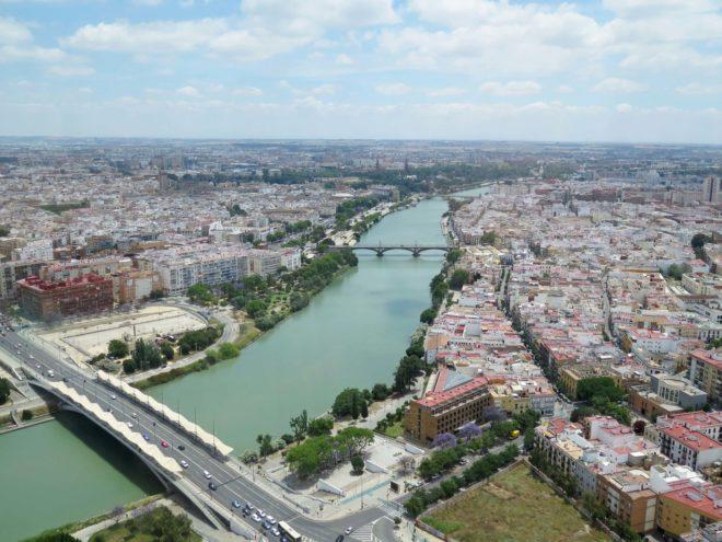 Vistas del río Guadalquivir desde el Hotel Torre Sevilla.