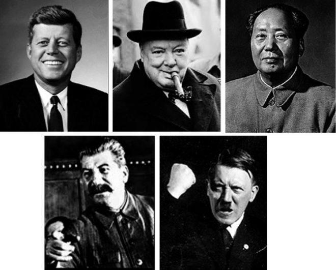 Arriba: John F. Kennedy; W. Churchill y Mao. Abajo: Joseph Stalin y Adolf Hitler.