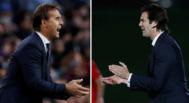 Julen Lopetegui y Santiago Solari, hasta hoy técnicos del Real Madrid y del Castilla.