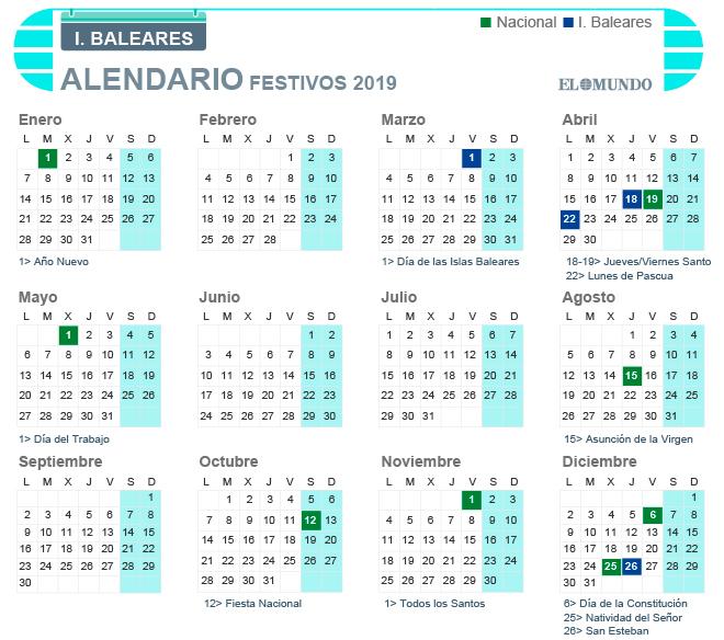 Calendario laboral 2019 de Baleares
