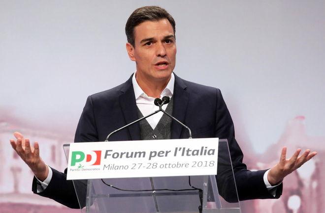El presidente del Gobierno de España, Pedro Sánchez, hablando en el Foro por Italia el pasado fin de semana, en Milán.