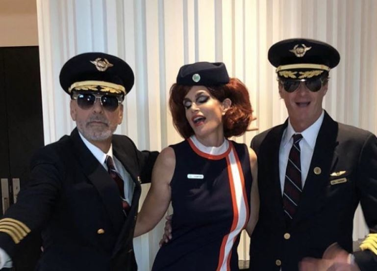 George Clooney, Cindy Crawford y Rande Gerber disfrazados para Halloween.