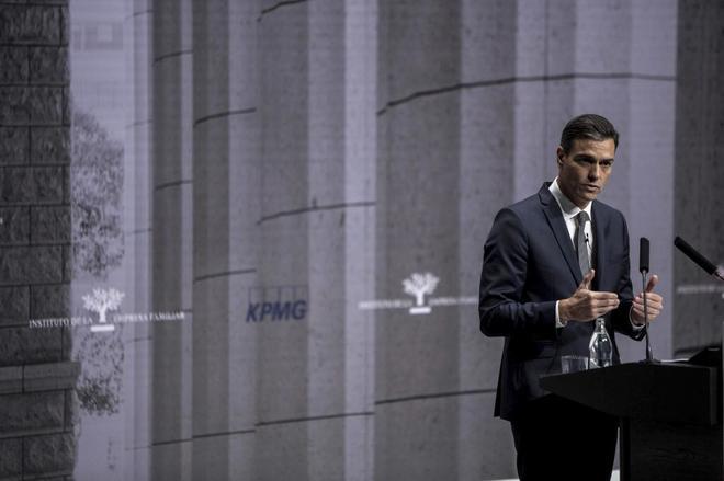 El presidente del Gobierno, Pedro Sánchez, en el Congreso de la Empresa Familiar.