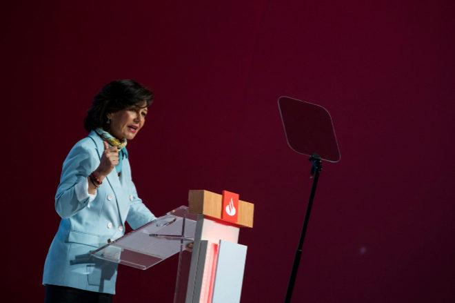 Ana Patricia Botín, Presidenta del Banco Santander durante la Junta General de Accionistas del Banco Santander.