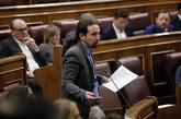 Pablo Iglesias, durante la pregunta formulada en la sesión de control...