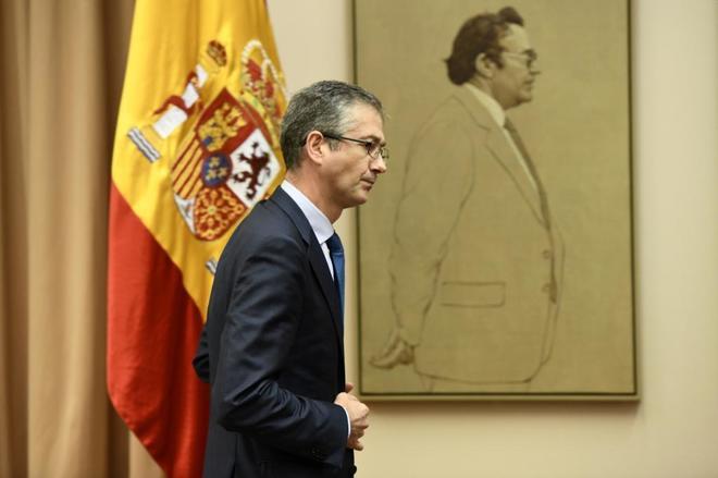 El gobernador del Banco de España, Pablo Hernández de Cos, en el Congreso.