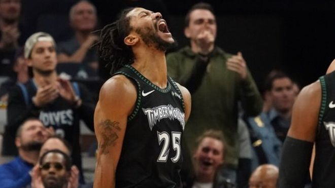 7e80e30f56ab Derrick Rose celebrates one of his baskets against the Utah Jazz.   Timberwolves
