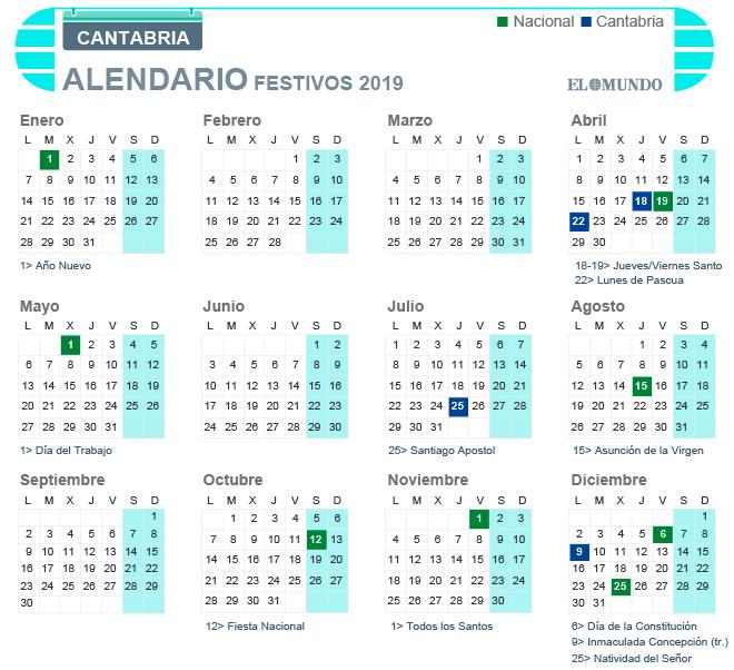 Calendario laboral de Cantabria para 2019