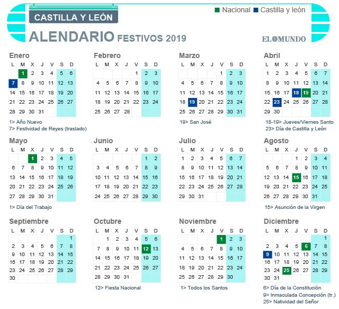 Calendario Laboral 2019 Valladolid Pdf.Calendario Laboral 2019 En Castilla Y Leon Dias Festivos Y
