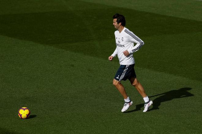 Santiago Solari, durante el último entrenamiento antes del partido contra el Valladolid.