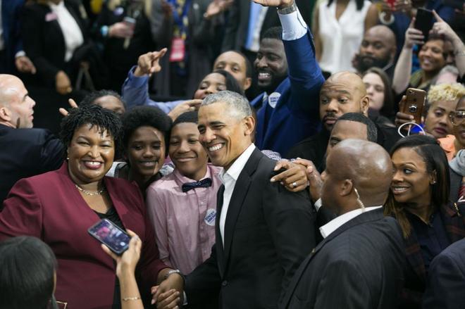 El ex presidente Barack Obama en un acto de campaña de los demócratas.