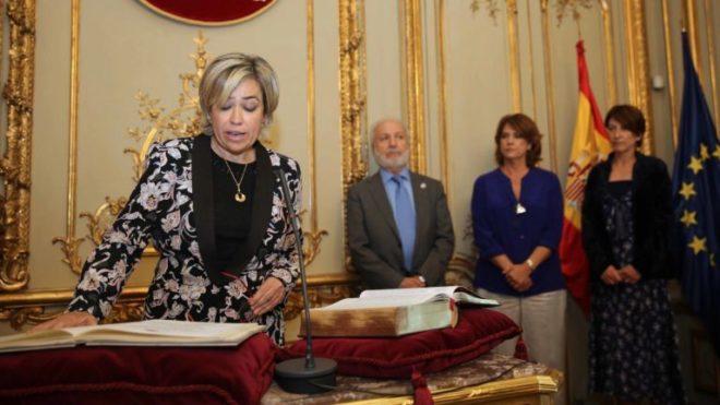 La abogada general del Estado, Consuelo Castro, durante su toma de...