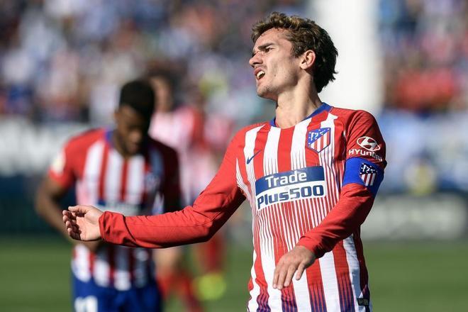 Antoine Griezmann se lamenta tras fallar una ocasión ante el Leganés.