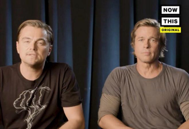 Leonardo Di Caprio y Brad Pitt en el vídeo de Now This.