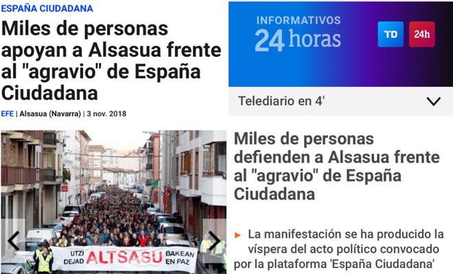 El titular de EFE sobre Alsasua y el titular de RTVE.