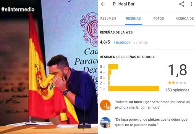 Imágenes de Dani Mateo durante el 'sketch' con la bandera y de las críticas a su bar