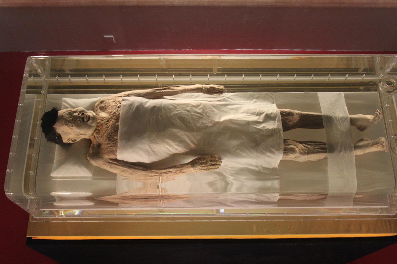 La momia de Xin Zhui se encuentra en el museo de Hunan, en China. El...