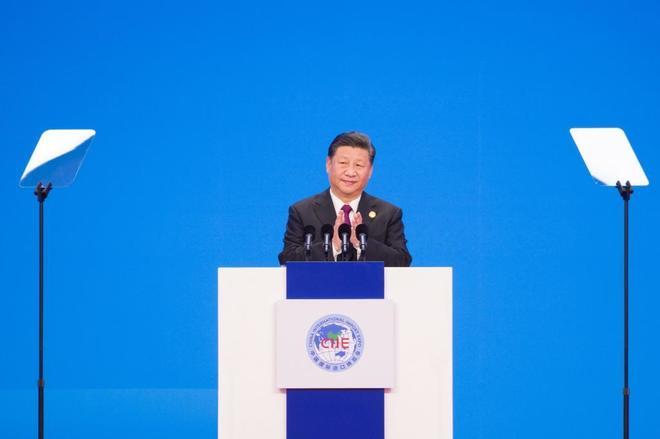 El presidente chino, Xi Jinping, durante la ceremonia de inauguración de la feria global de importación en Shanghai (China)
