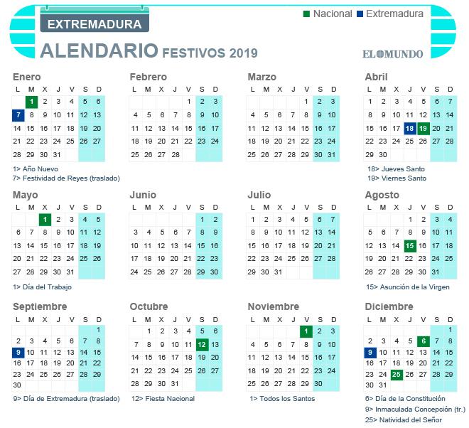 Calendario laboral 2019 de Extremadura