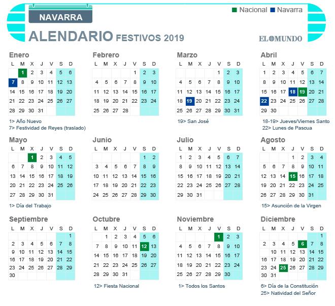Calendario Laboral 2019 Navarra.Calendario Laboral De 2019 En Navarra Dias Festivos Y Puentes