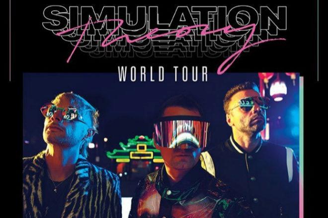 Cartel oficial de la gira mundial Simulation de Muse.