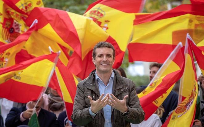 El presidente del PP, Pablo Casado, en un acto de Nuevas Generaciones este domingo en Sevilla