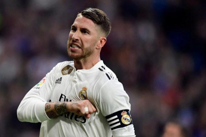 Sergio Ramos durante el último partido disputado por el Real Madrid