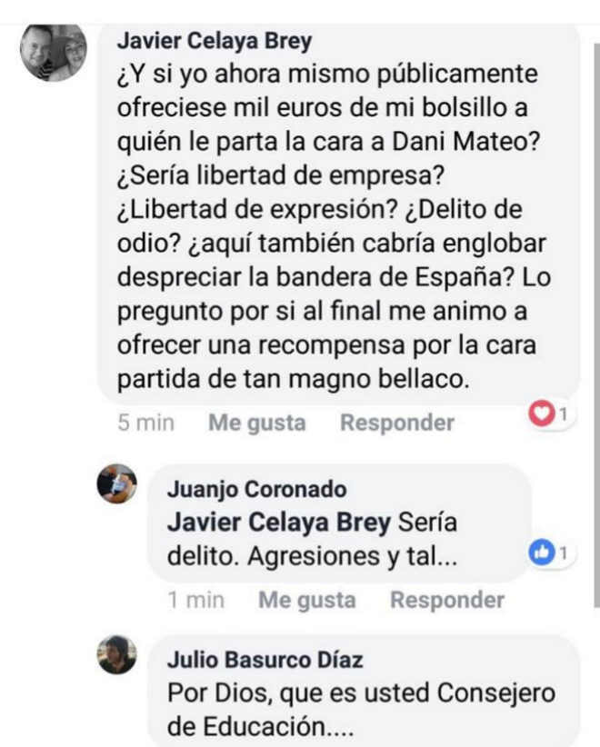 """Un primo de Rajoy se plantea ofrecer 1.000 euros a quien le parta la cara al """"bellaco"""" de Dani Mateo"""
