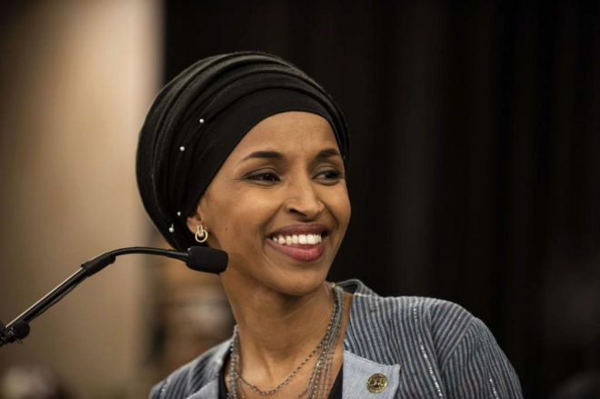 == FOR NEWSPAPERS, INTERNET, TELCOS & TELEVISION USE ONLY == MINNEAPOLIS, MN - NOVEMBER 06: Minnesota Democratic Congressional Candidate Ilhan Omar speaks at an election night results party on November 6, 2018 in Minneapolis, Minnesota. Omar won the race for Minnesota's 5th congressional district seat against Republican candidate Jennifer Zielinski to become one of the first Muslim women elected to Congress. Stephen Maturen/Getty Images/AFP