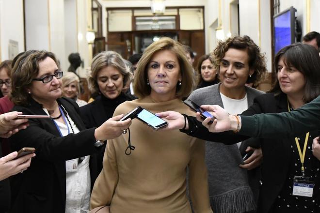 María Dolores de Cospedal, la pasada semana en los pasillos del Congreso.
