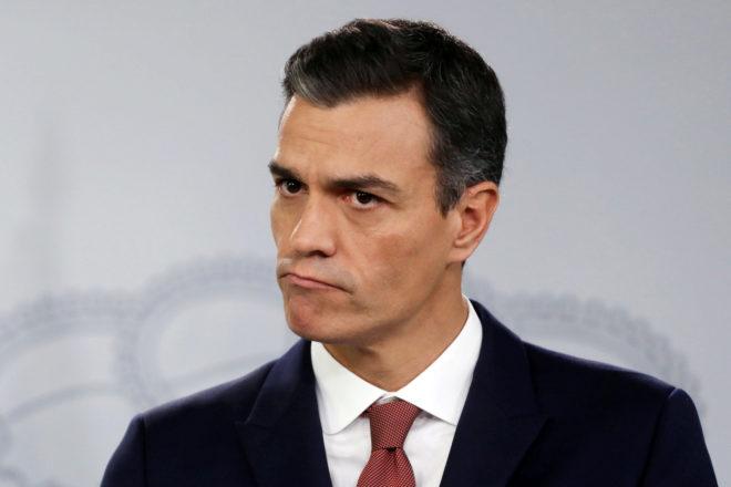 El presidente del Gobierno, Pedro Sánchez, ayer, en rueda de prensa en Moncloa.