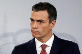 El presidente del Gobierno, Pedro Sánchez, ayer, en rueda de prensa...