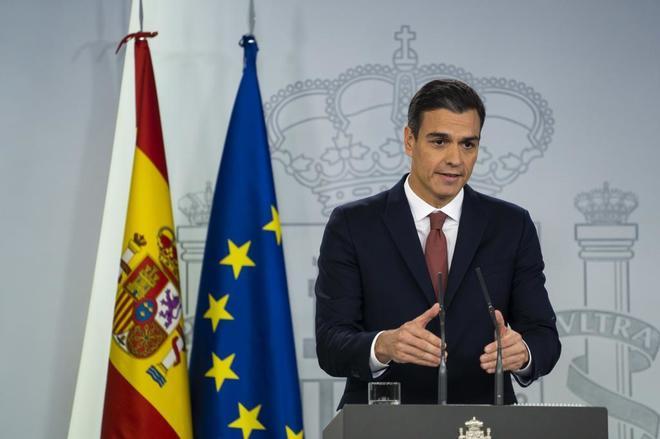 El presidente del Gobierno, Pedro Sánchez, durante una rueda de prensa con motivo del fallo del Tribunal Supremo sobre las hipotecas.