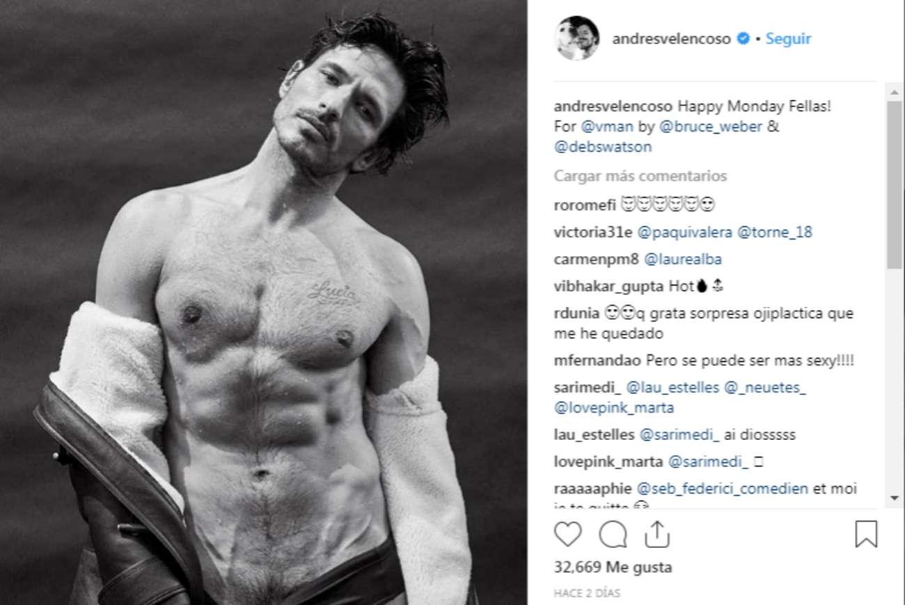 Andrés Velencoso incendia las redes con su último desnudo