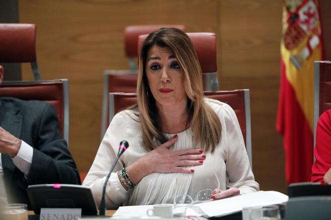 Susana Díaz, este jueves, ante la comisión del Senado que investiga la financiación de los partidos.
