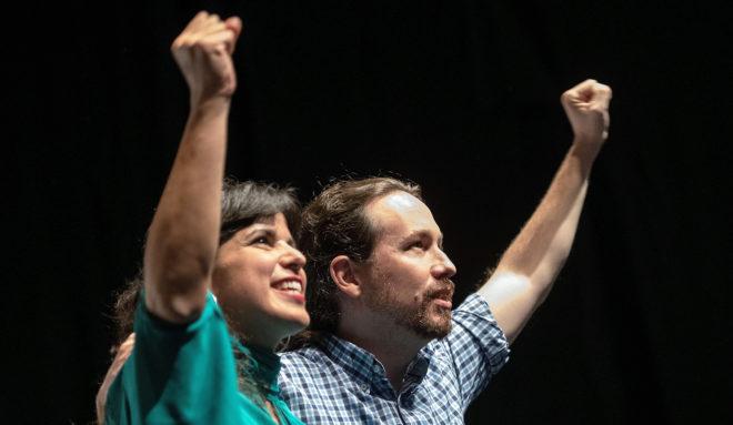 Pablo Iglesias y Teresa Rodríguez en el acto de Adelante Andalucía celebrado este jueves en Sevilla.