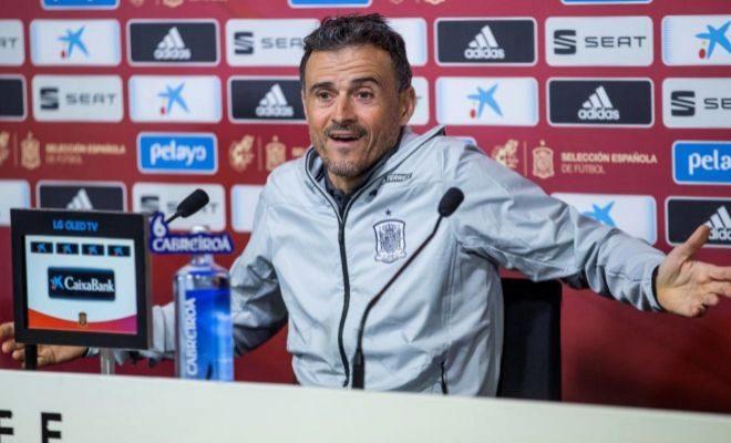 Luis Enrique, durante su rueda de prensa del jueves en Las Rozas.