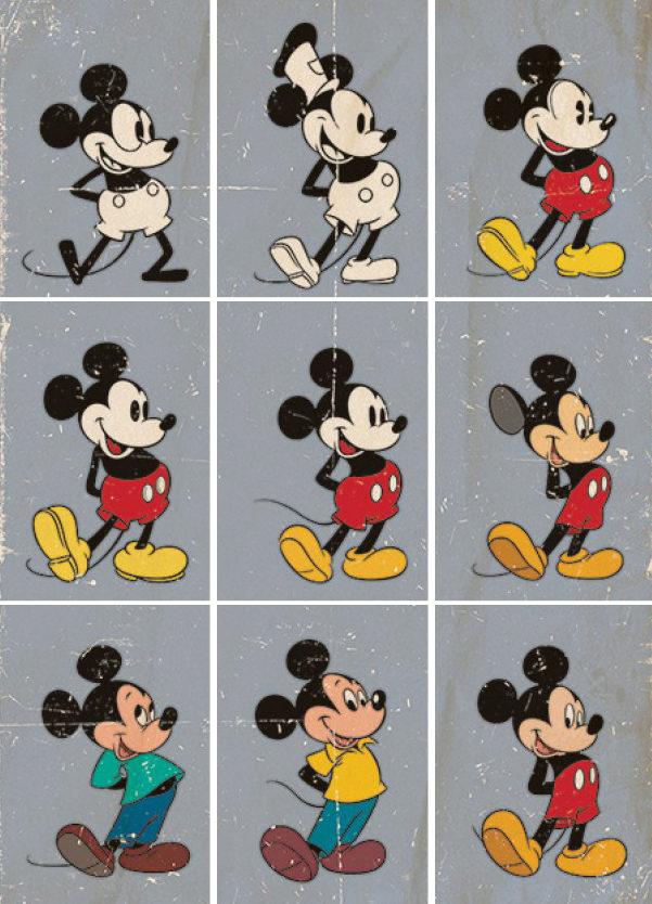 Evolución del dibujo de Mickey en estos 90 años.