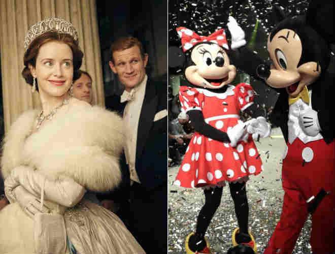 Los protagonistas de 'The Crown', de Netflix, y los icónicos Minney y Mickey Mouse, de Disney.